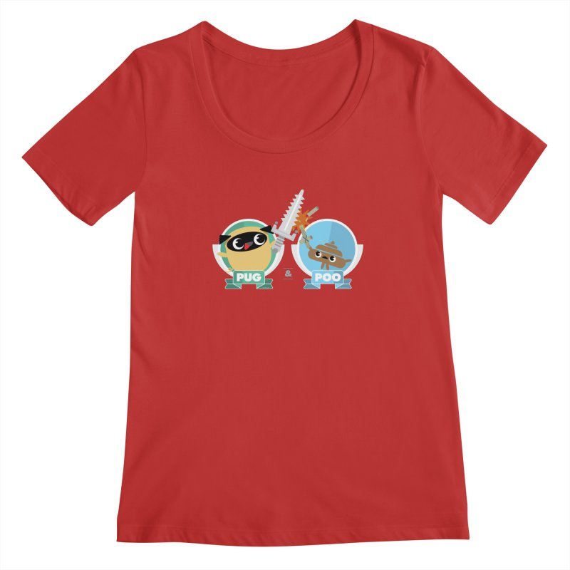 Pug and Poo's Epic Sword Battle Women's Regular Scoop Neck by Pug and Poo's Store