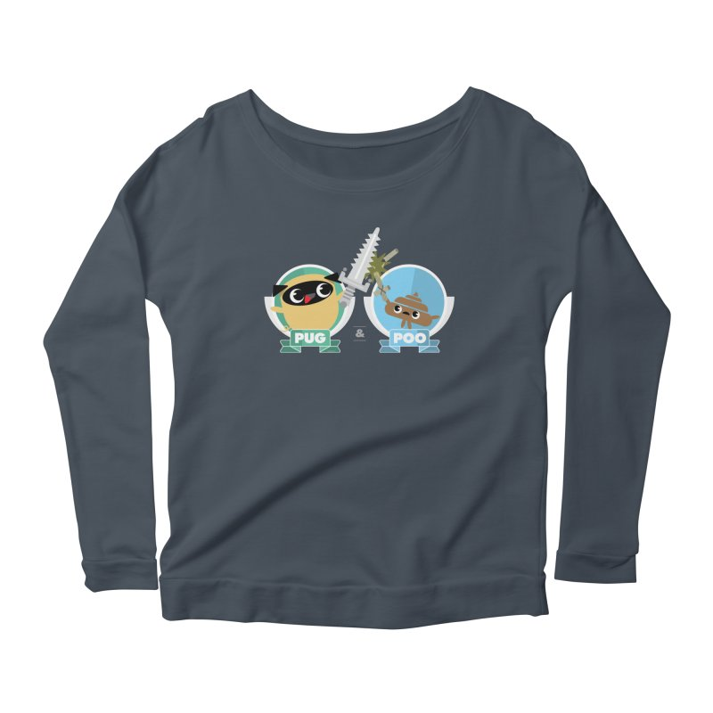 Pug and Poo's Epic Sword Battle Women's Scoop Neck Longsleeve T-Shirt by Pug and Poo's Store