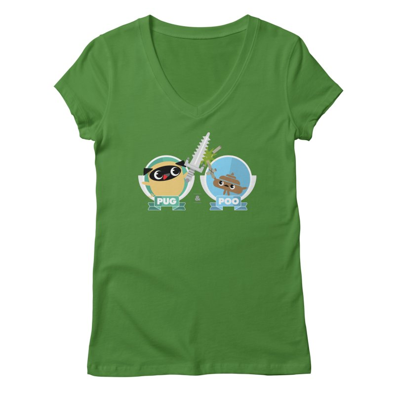 Pug and Poo's Epic Sword Battle Women's Regular V-Neck by Pug and Poo's Store