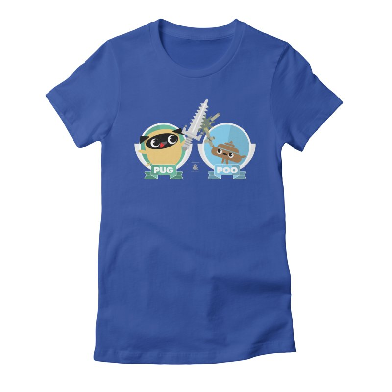 Pug and Poo's Epic Sword Battle Women's Fitted T-Shirt by Pug and Poo's Store