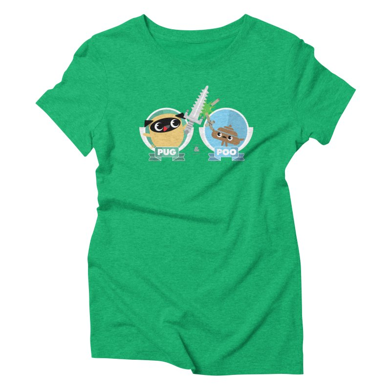 Pug and Poo's Epic Sword Battle Women's Triblend T-Shirt by Pug and Poo's Store