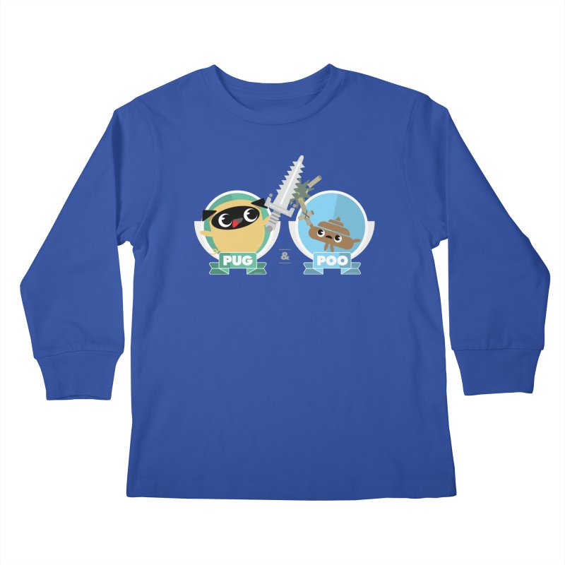 Pug and Poo's Epic Sword Battle Kids Longsleeve T-Shirt by Pug and Poo's Store