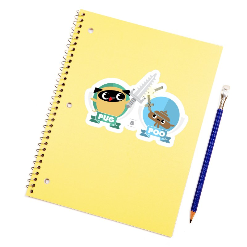 Pug and Poo's Epic Sword Battle Accessories Sticker by Pug and Poo's Store