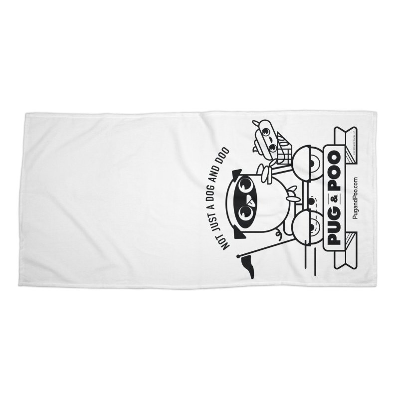 Pug and Poo B/W Scooter Accessories Beach Towel by Pug and Poo's Store