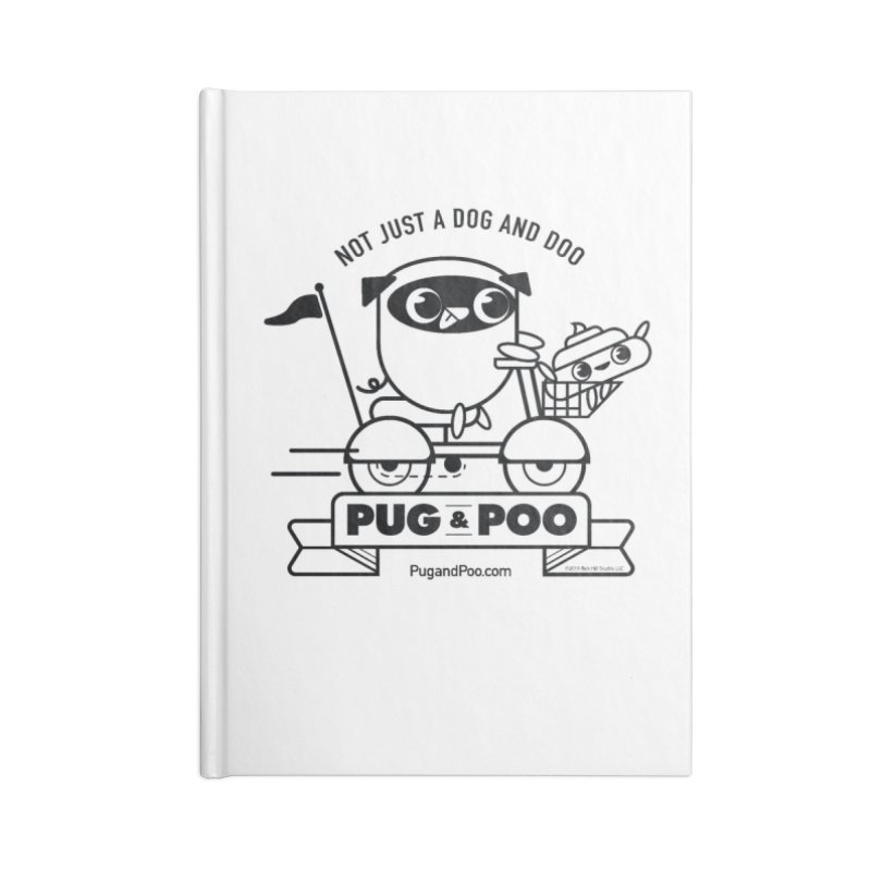 Pug and Poo B/W Scooter Accessories Lined Journal Notebook by Pug and Poo's Store