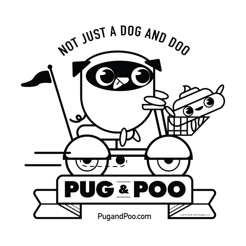 Pug and Poo B/W Scooter Men's Zip-Up Hoody by Pug and Poo's Store