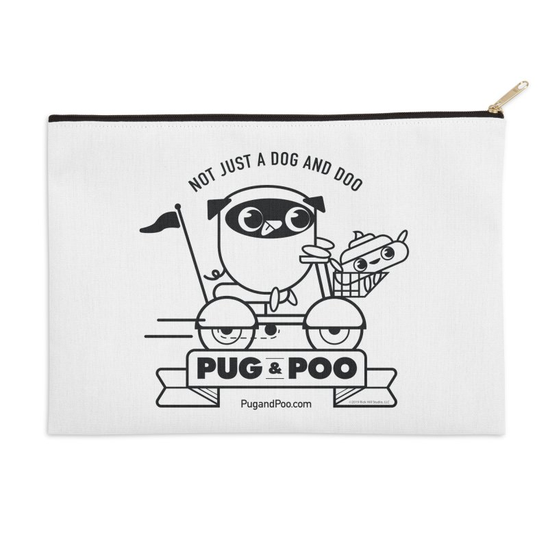 Pug and Poo B/W Scooter Accessories Zip Pouch by Pug and Poo's Store