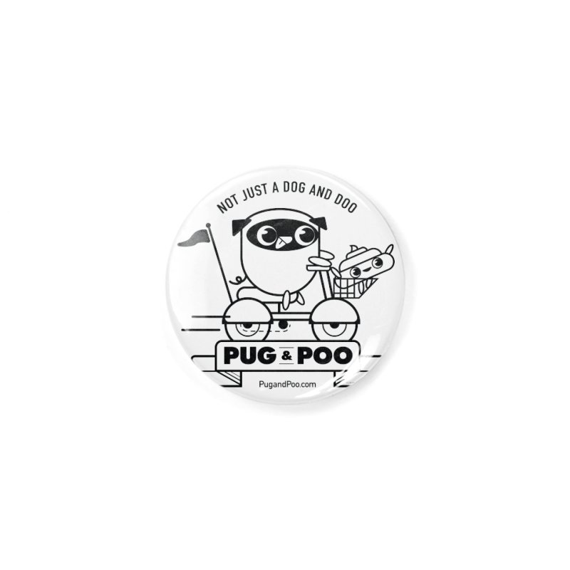 Pug and Poo B/W Scooter Accessories Button by Pug and Poo's Store