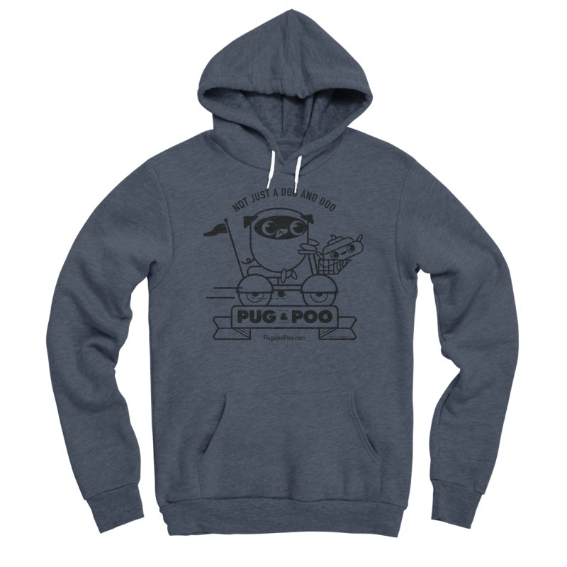 Pug and Poo B/W Scooter Women's Sponge Fleece Pullover Hoody by Pug and Poo's Store