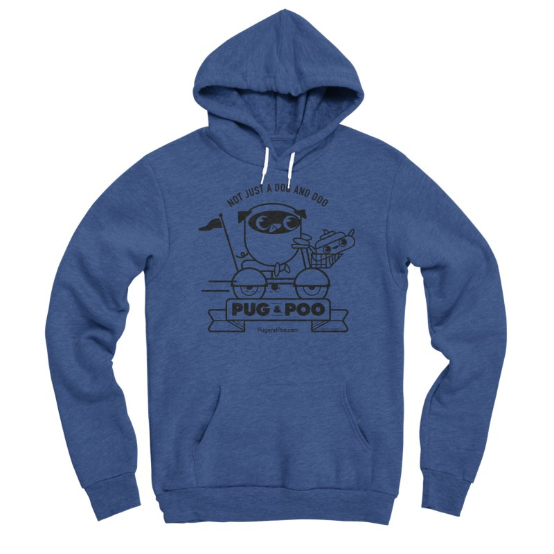 Pug and Poo B/W Scooter Men's Sponge Fleece Pullover Hoody by Pug and Poo's Store