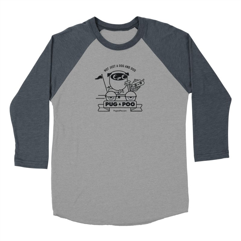 Pug and Poo B/W Scooter Women's Baseball Triblend Longsleeve T-Shirt by Pug and Poo's Store