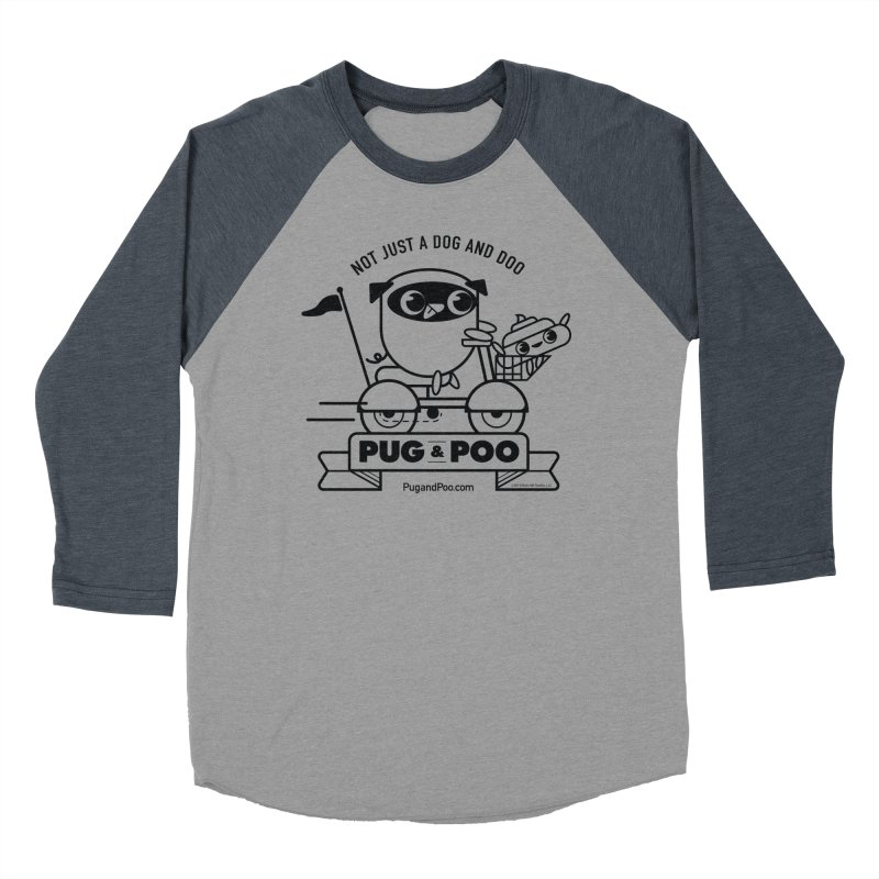Pug and Poo B/W Scooter Men's Baseball Triblend Longsleeve T-Shirt by Pug and Poo's Store