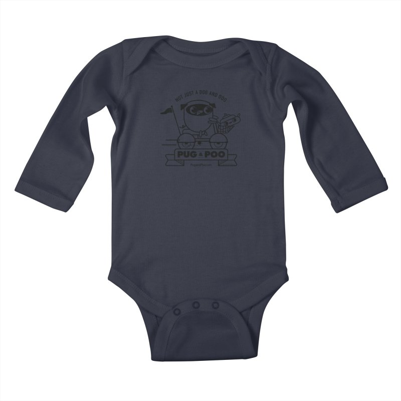 Pug and Poo B/W Scooter Kids Baby Longsleeve Bodysuit by Pug and Poo's Store