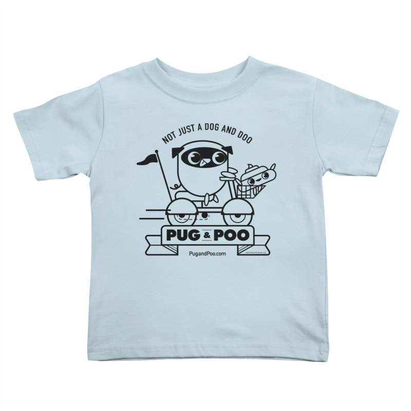 Pug and Poo B/W Scooter Kids Toddler T-Shirt by Pug and Poo's Store