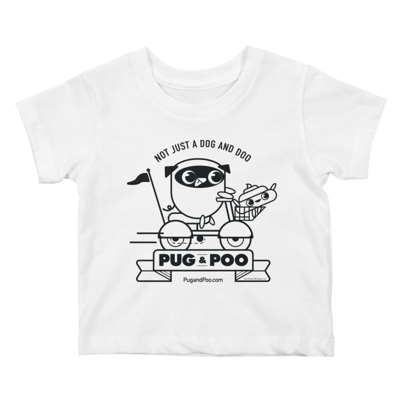 Pug and Poo B/W Scooter Kids Baby T-Shirt by Pug and Poo's Store