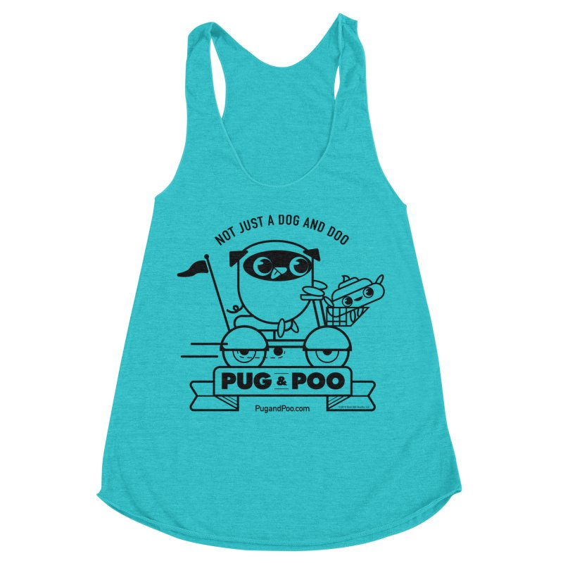 Pug and Poo B/W Scooter Women's Racerback Triblend Tank by Pug and Poo's Store