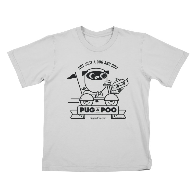 Pug and Poo B/W Scooter Kids T-Shirt by Pug and Poo's Store