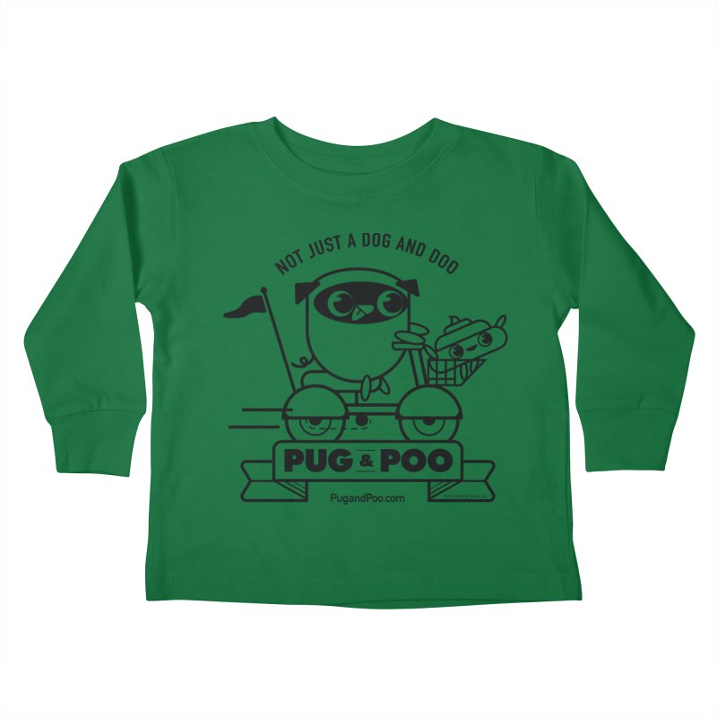 Pug and Poo B/W Scooter Kids Toddler Longsleeve T-Shirt by Pug and Poo's Store