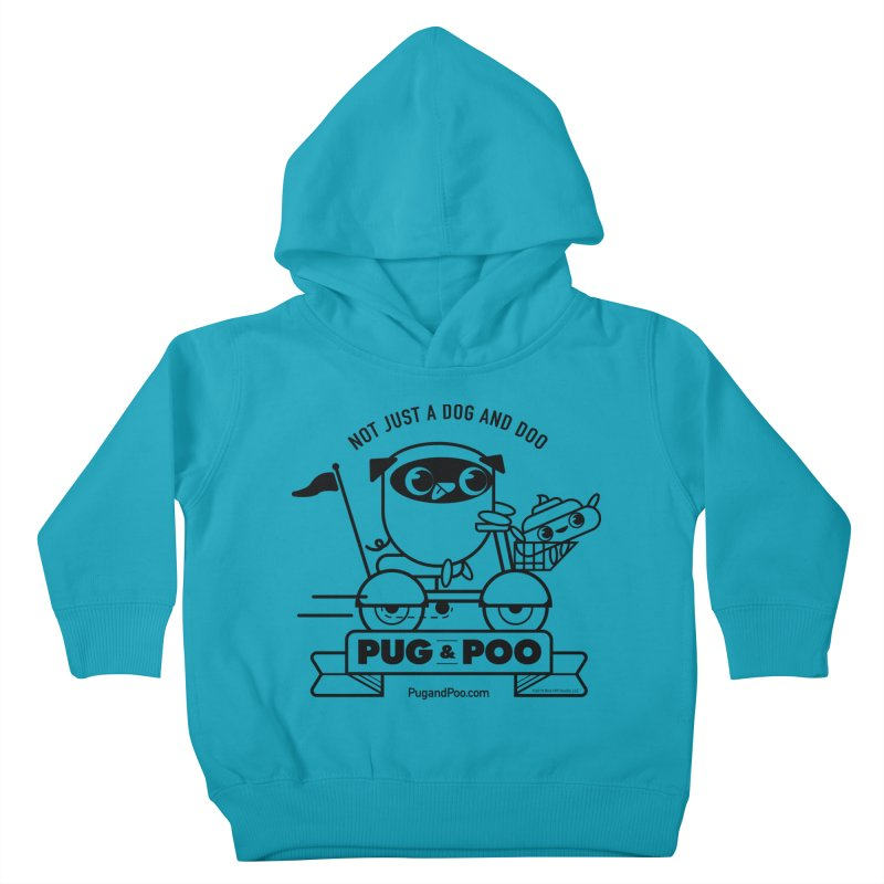 Pug and Poo B/W Scooter Kids Toddler Pullover Hoody by Pug and Poo's Store