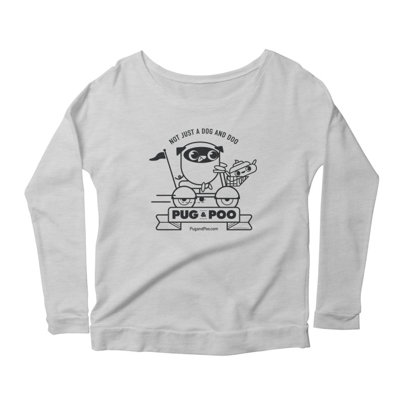 Pug and Poo B/W Scooter Women's Scoop Neck Longsleeve T-Shirt by Pug and Poo's Store