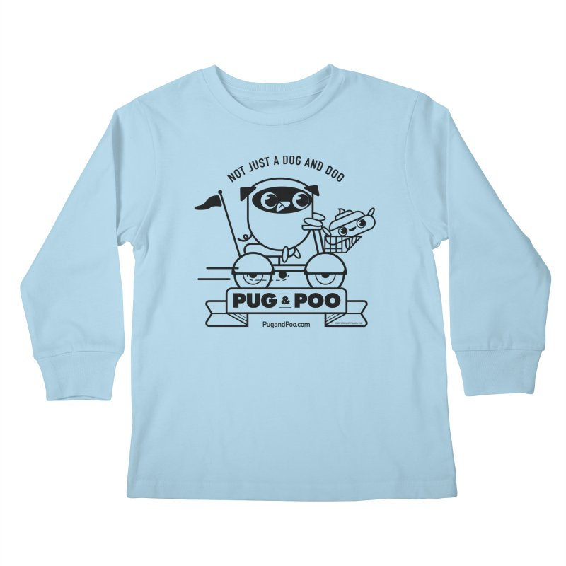 Pug and Poo B/W Scooter Kids Longsleeve T-Shirt by Pug and Poo's Store