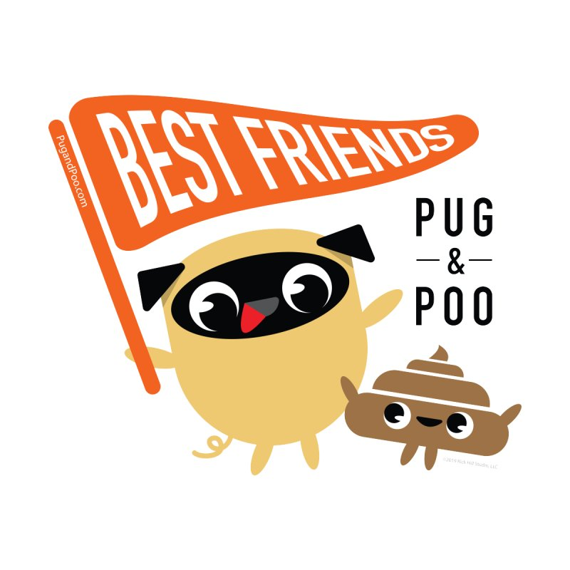 Pug and Poo BFF Banner Men's Zip-Up Hoody by Pug and Poo's Store