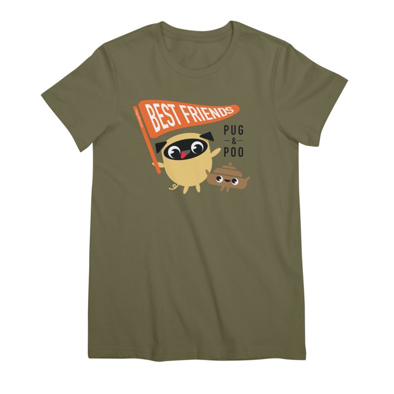 Pug and Poo BFF Banner Women's Premium T-Shirt by Pug and Poo's Store