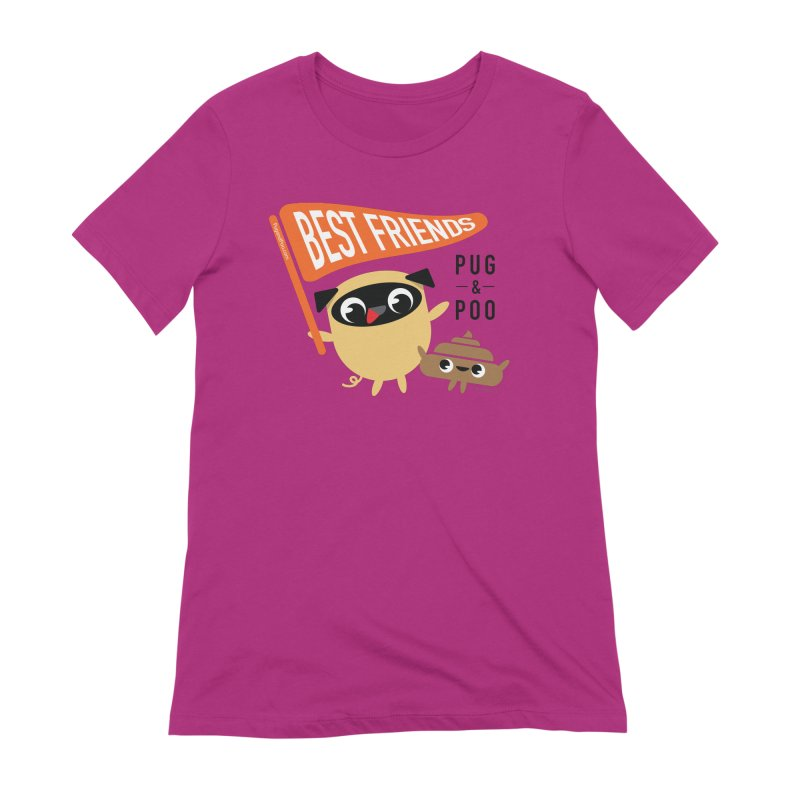 Pug and Poo BFF Banner Women's Extra Soft T-Shirt by Pug and Poo's Store