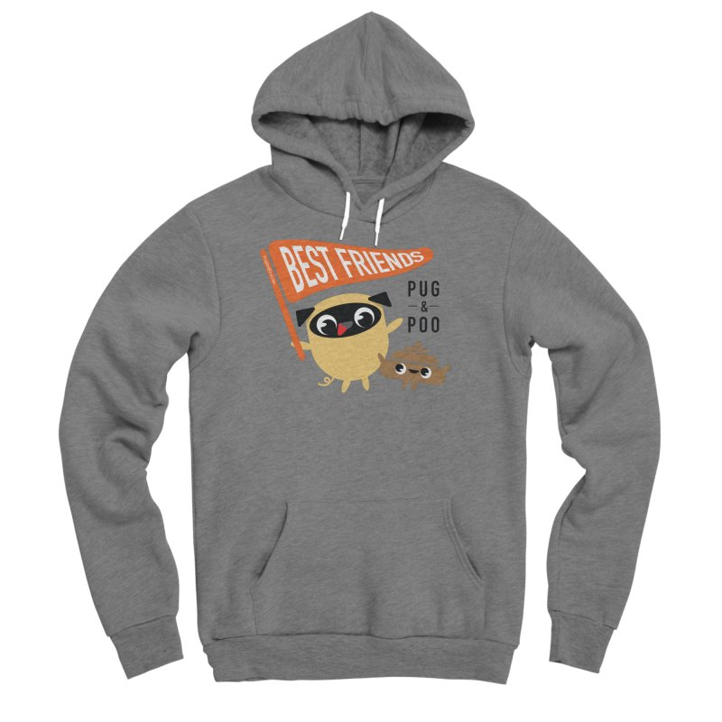 Pug and Poo BFF Banner Men's Sponge Fleece Pullover Hoody by Pug and Poo's Store