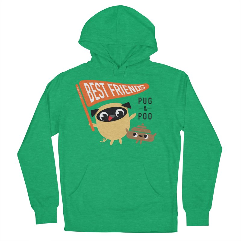 Pug and Poo BFF Banner Women's French Terry Pullover Hoody by Pug and Poo's Store