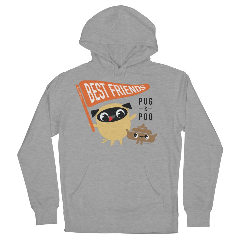 Pug and Poo BFF Banner Men's French Terry Pullover Hoody by Pug and Poo's Store