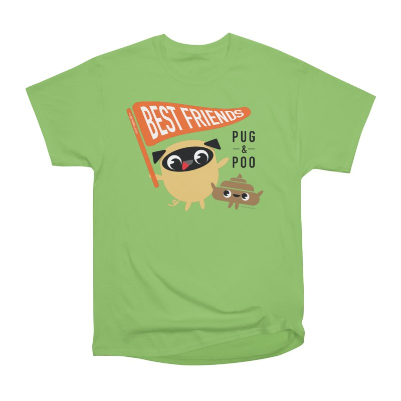 Pug and Poo BFF Banner Women's Heavyweight Unisex T-Shirt by Pug and Poo's Store