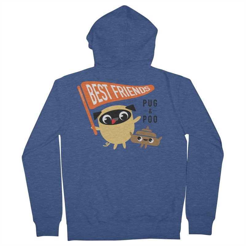 Pug and Poo BFF Banner Men's French Terry Zip-Up Hoody by Pug and Poo's Store