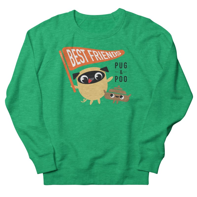 Pug and Poo BFF Banner Men's French Terry Sweatshirt by Pug and Poo's Store