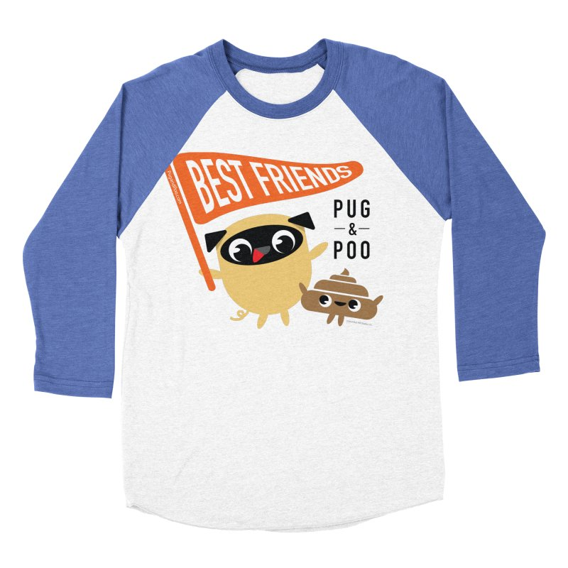 Pug and Poo BFF Banner Men's Baseball Triblend Longsleeve T-Shirt by Pug and Poo's Store
