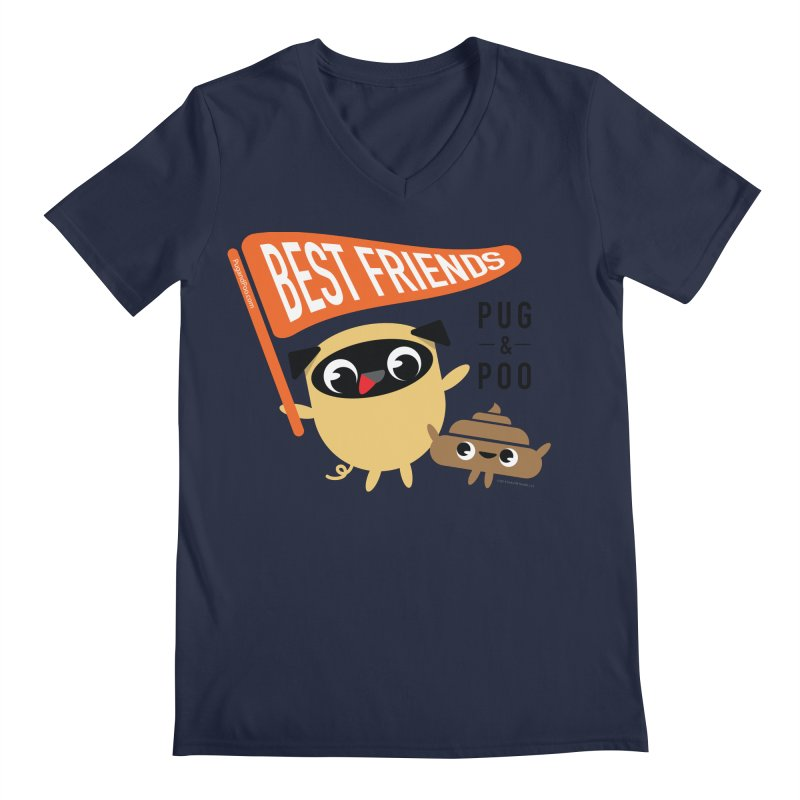 Pug and Poo BFF Banner Men's Regular V-Neck by Pug and Poo's Store