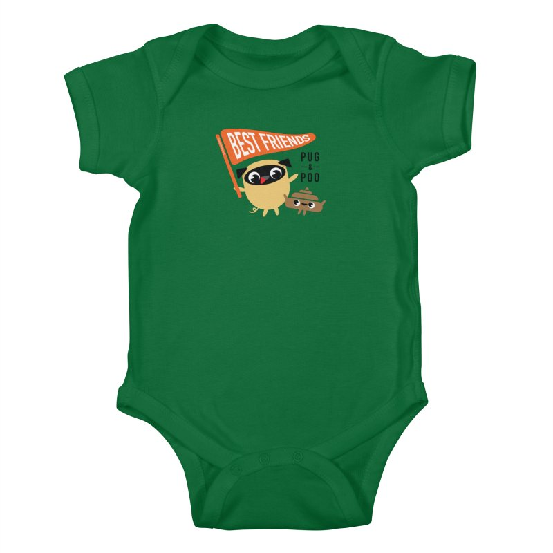 Pug and Poo BFF Banner Kids Baby Bodysuit by Pug and Poo's Store