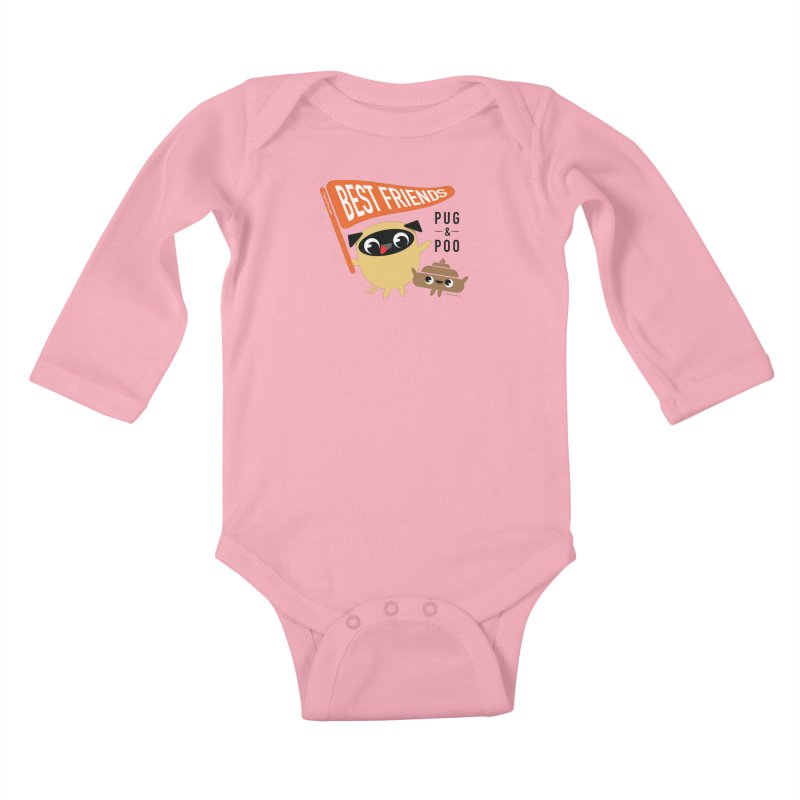 Pug and Poo BFF Banner Kids Baby Longsleeve Bodysuit by Pug and Poo's Store