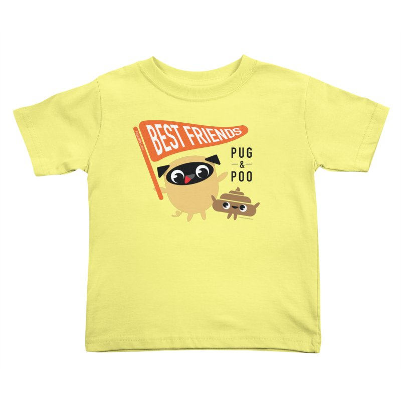 Pug and Poo BFF Banner Kids Toddler T-Shirt by Pug and Poo's Store