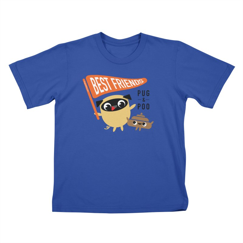 Pug and Poo BFF Banner Kids T-Shirt by Pug and Poo's Store