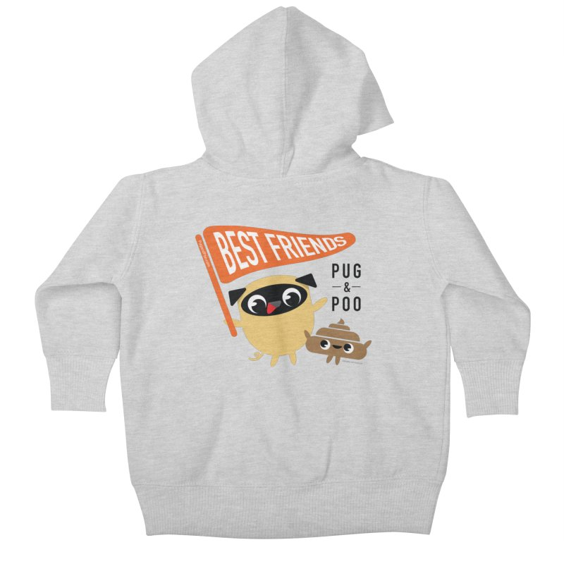 Pug and Poo BFF Banner Kids Baby Zip-Up Hoody by Pug and Poo's Store