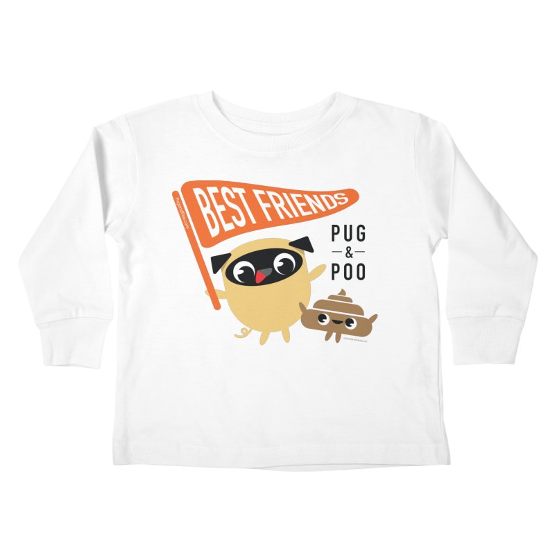 Pug and Poo BFF Banner Kids Toddler Longsleeve T-Shirt by Pug and Poo's Store