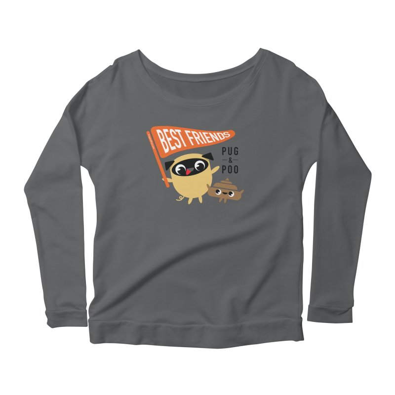 Pug and Poo BFF Banner Women's Scoop Neck Longsleeve T-Shirt by Pug and Poo's Store