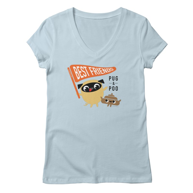 Pug and Poo BFF Banner Women's V-Neck by Pug and Poo's Store
