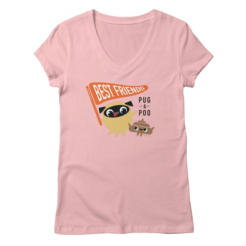Pug and Poo BFF Banner Women's Regular V-Neck by Pug and Poo's Store