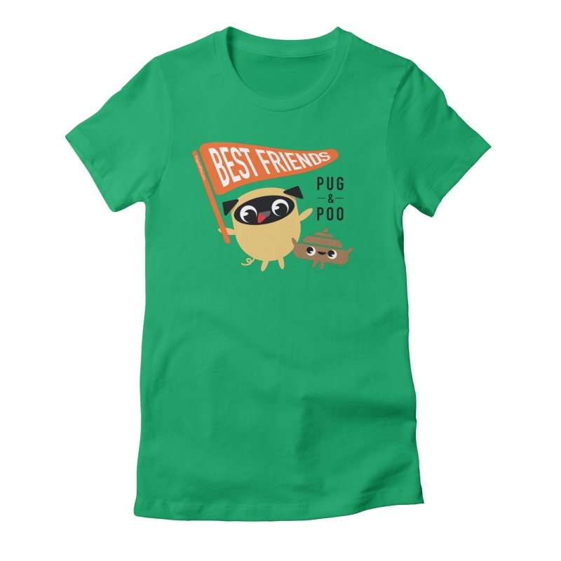Pug and Poo BFF Banner Women's Fitted T-Shirt by Pug and Poo's Store