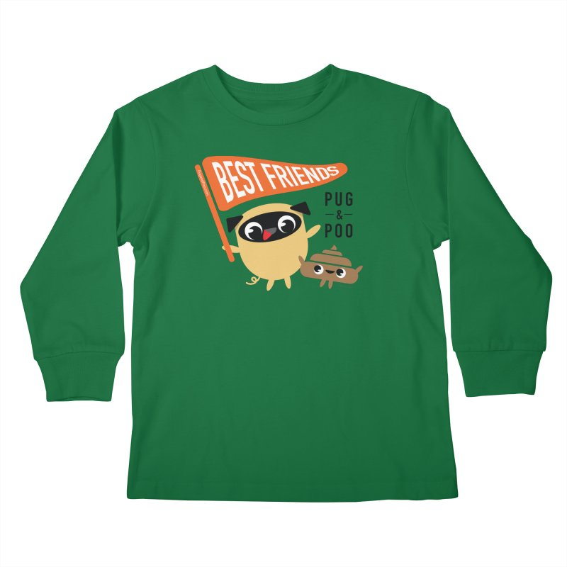 Pug and Poo BFF Banner Kids Longsleeve T-Shirt by Pug and Poo's Store