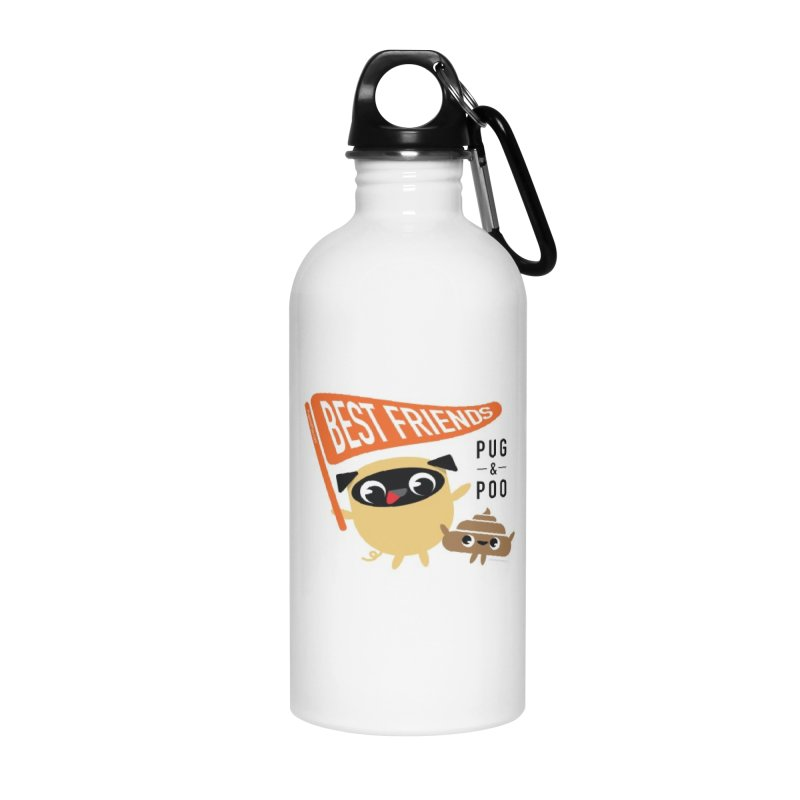 Pug and Poo BFF Banner Accessories Water Bottle by Pug and Poo's Store