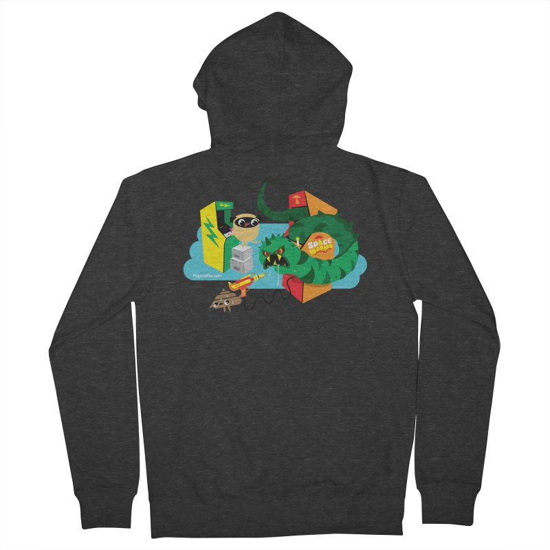 Pug and Poo Arcade Men's French Terry Zip-Up Hoody by Pug and Poo's Store