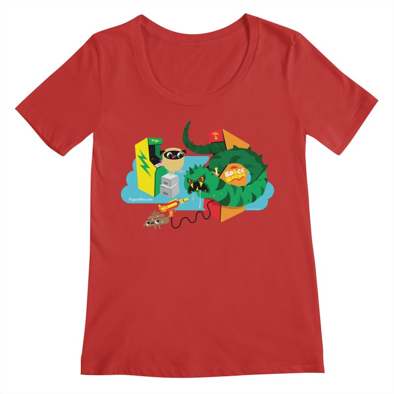 Pug and Poo Arcade Women's Regular Scoop Neck by Pug and Poo's Store
